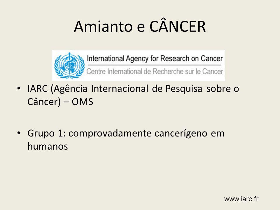 Amianto e CÂNCER IARC (Agência Internacional de Pesquisa sobre o Câncer) – OMS Grupo 1: comprovadamente cancerígeno em humanos www.iarc.fr