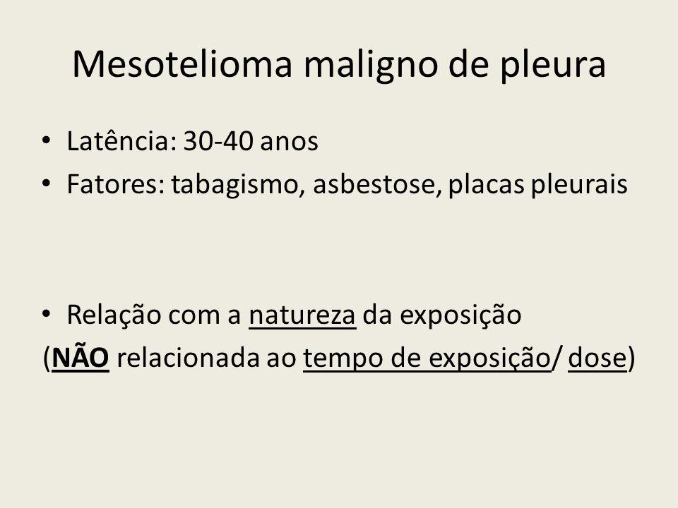 Mesotelioma maligno de pleura Latência: 30-40 anos Fatores: tabagismo, asbestose, placas pleurais Relação com a natureza da exposição (NÃO relacionada