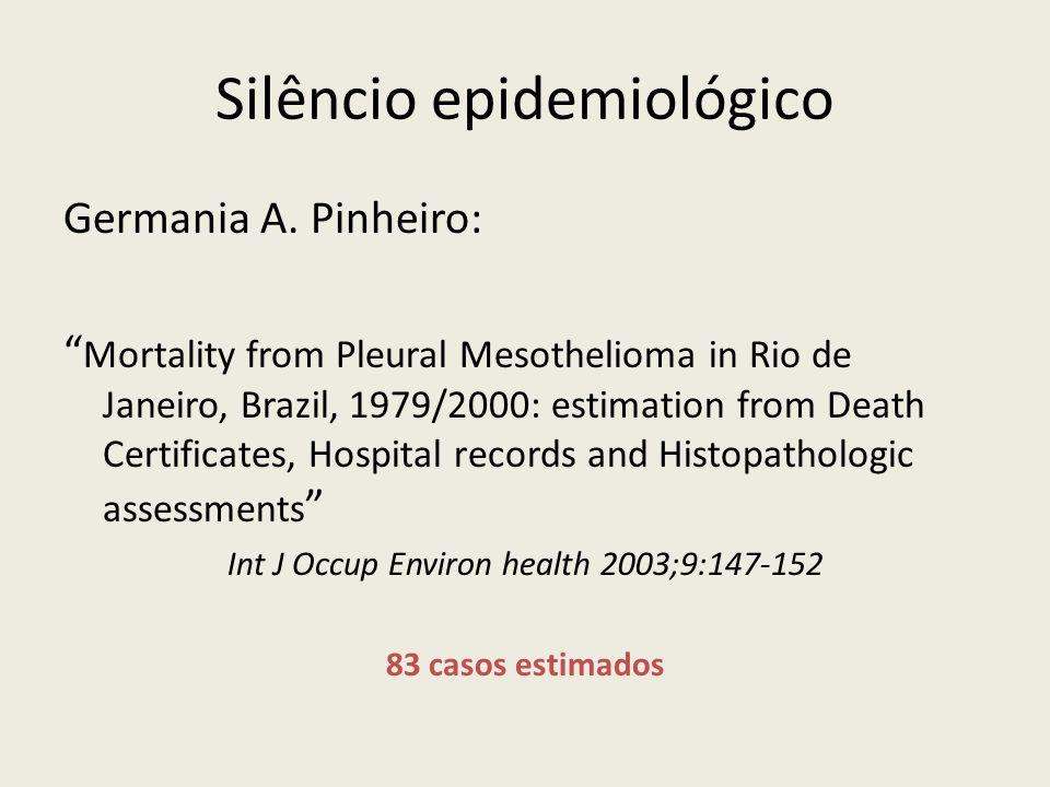 Silêncio epidemiológico Germania A. Pinheiro: Mortality from Pleural Mesothelioma in Rio de Janeiro, Brazil, 1979/2000: estimation from Death Certific
