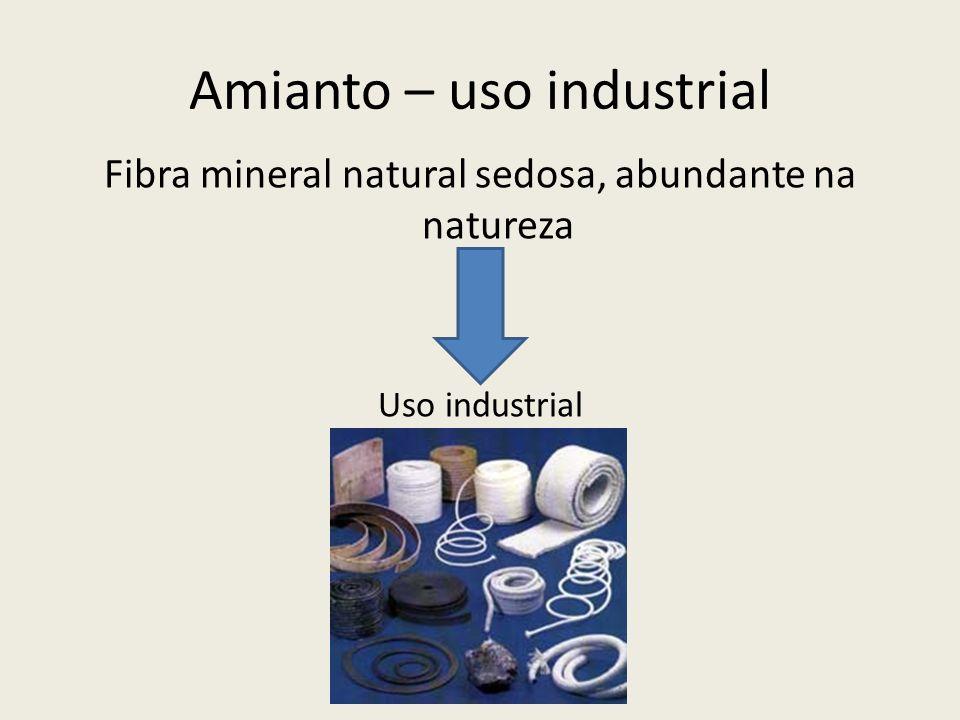 Amianto – uso industrial Fibra mineral natural sedosa, abundante na natureza Uso industrial