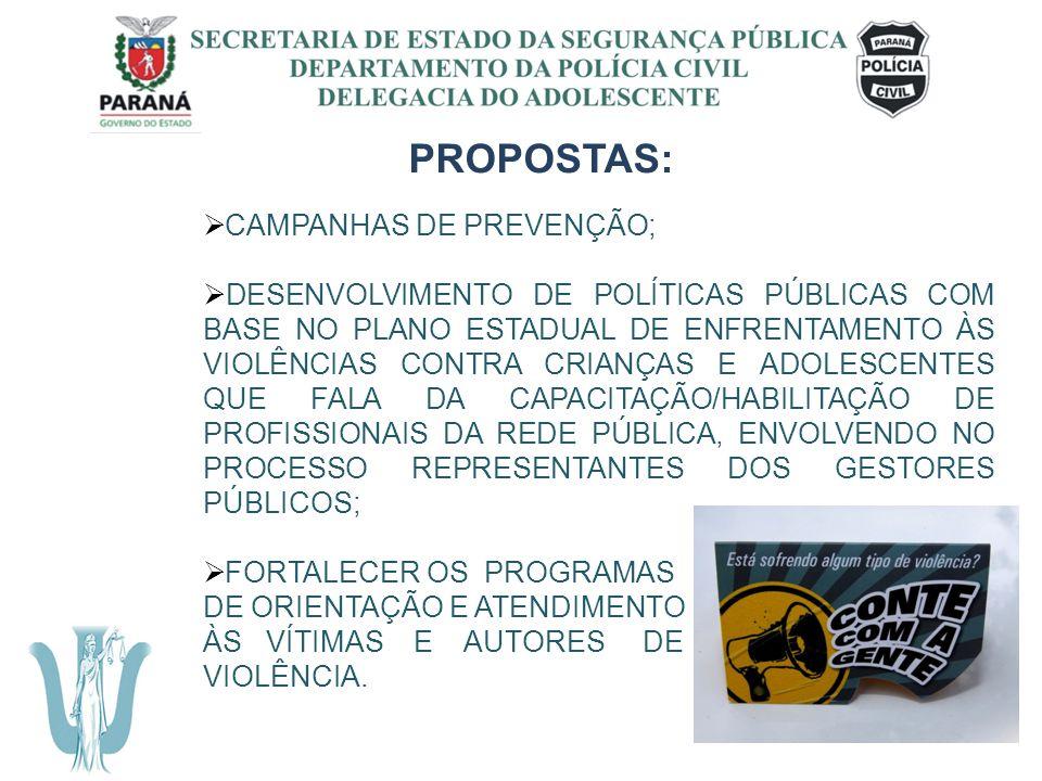 SECRETARIA DE ESTADO DA SEGURANÇA PÚBLICA DEPARTAMENTO DA POLÍCIA CIVIL DELEGACIA DO ADOLESCENTE PROPOSTAS: CAMPANHAS DE PREVENÇÃO; DESENVOLVIMENTO DE