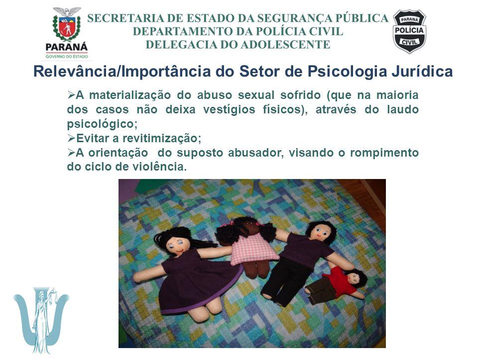SECRETARIA DE ESTADO DA SEGURANÇA PÚBLICA DEPARTAMENTO DA POLÍCIA CIVIL DELEGACIA DO ADOLESCENTE Relevância/Importância do Setor de Psicologia Jurídic