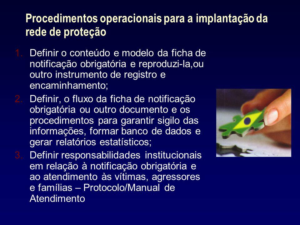Procedimentos operacionais para a implantação da rede de proteção 1.Definir o conteúdo e modelo da ficha de notificação obrigatória e reproduzi-la,ou