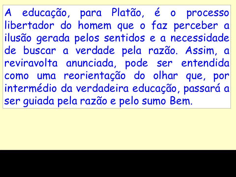 A educação, para Platão, é o processo libertador do homem que o faz perceber a ilusão gerada pelos sentidos e a necessidade de buscar a verdade pela razão.
