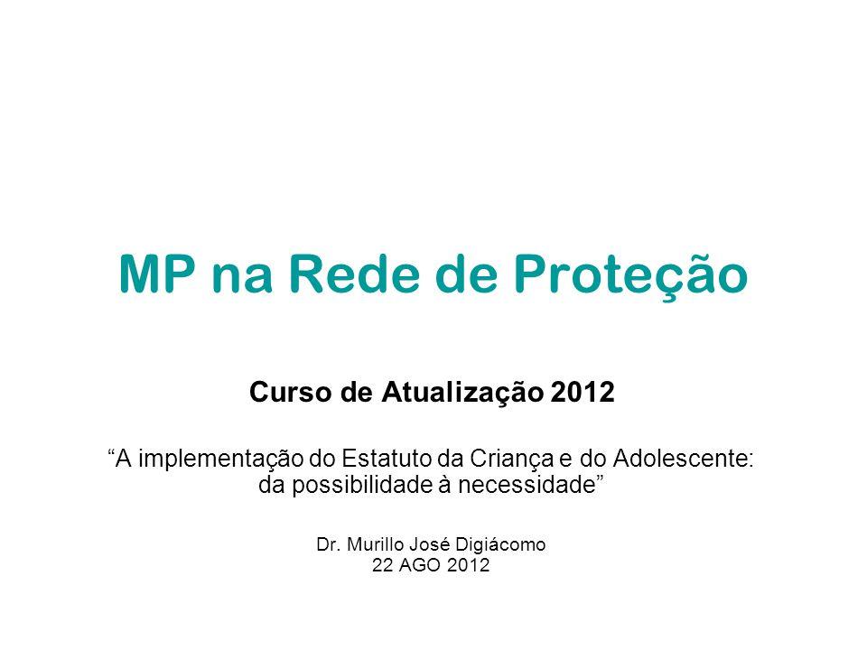 MP na Rede de Proteção Curso de Atualização 2012 A implementação do Estatuto da Criança e do Adolescente: da possibilidade à necessidade Dr. Murillo J