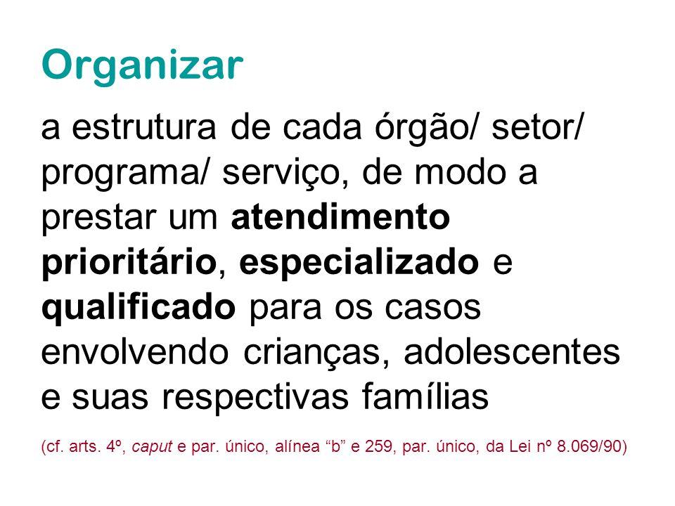 Organizar a estrutura de cada órgão/ setor/ programa/ serviço, de modo a prestar um atendimento prioritário, especializado e qualificado para os casos