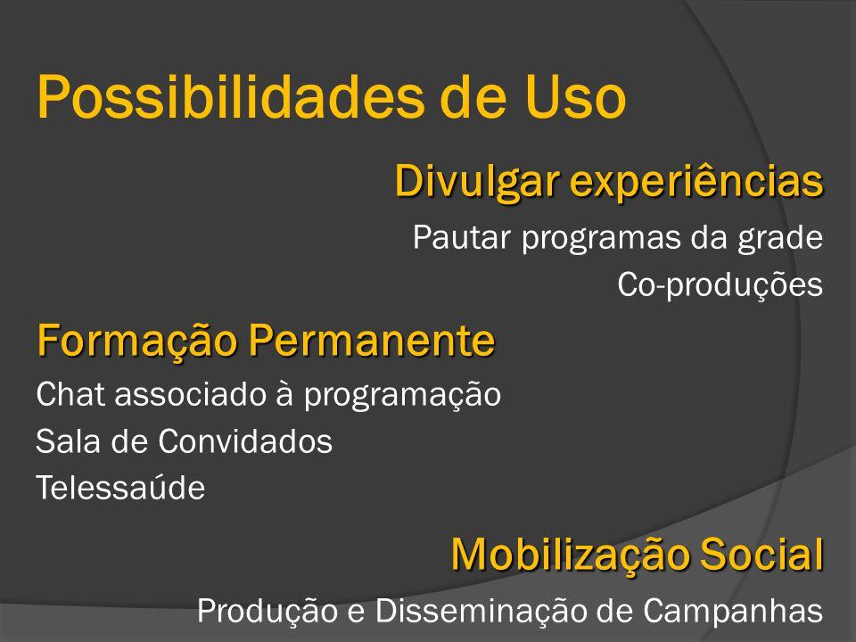 Possibilidades de Uso Divulgar experiências Pautar programas da grade Co-produções Formação Permanente Chat associado à programação Sala de Convidados