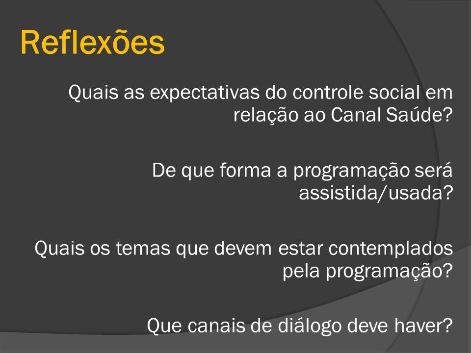 Reflexões Quais as expectativas do controle social em relação ao Canal Saúde? De que forma a programação será assistida/usada? Quais os temas que deve