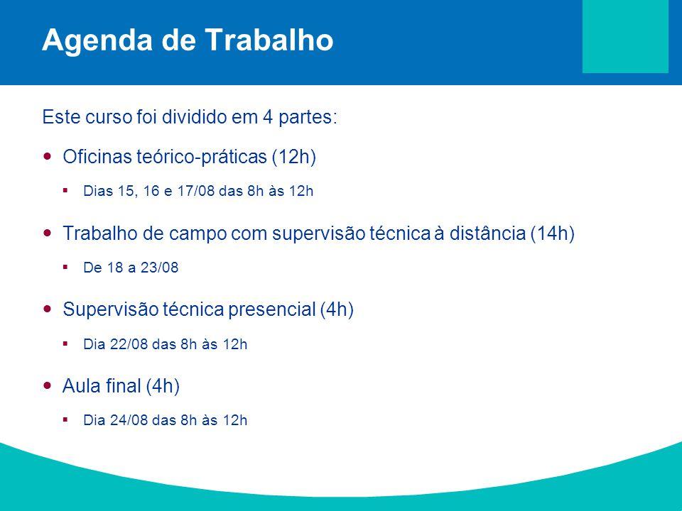 Agenda de Trabalho Este curso foi dividido em 4 partes: Oficinas teórico-práticas (12h) Dias 15, 16 e 17/08 das 8h às 12h Trabalho de campo com superv