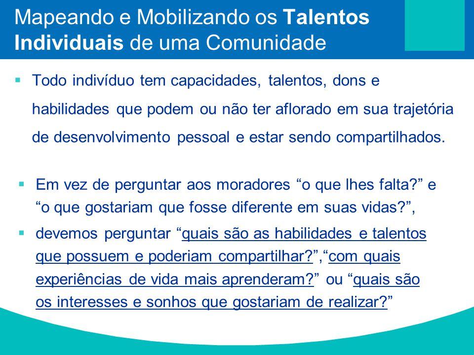 Mapeando e Mobilizando os Talentos Individuais de uma Comunidade Todo indivíduo tem capacidades, talentos, dons e habilidades que podem ou não ter afl