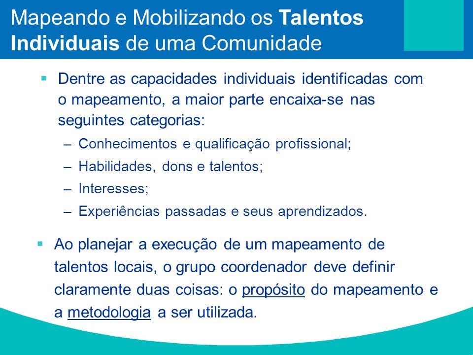 Dentre as capacidades individuais identificadas com o mapeamento, a maior parte encaixa-se nas seguintes categorias: –Conhecimentos e qualificação pro