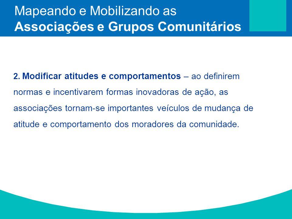 2. Modificar atitudes e comportamentos – ao definirem normas e incentivarem formas inovadoras de ação, as associações tornam-se importantes veículos d
