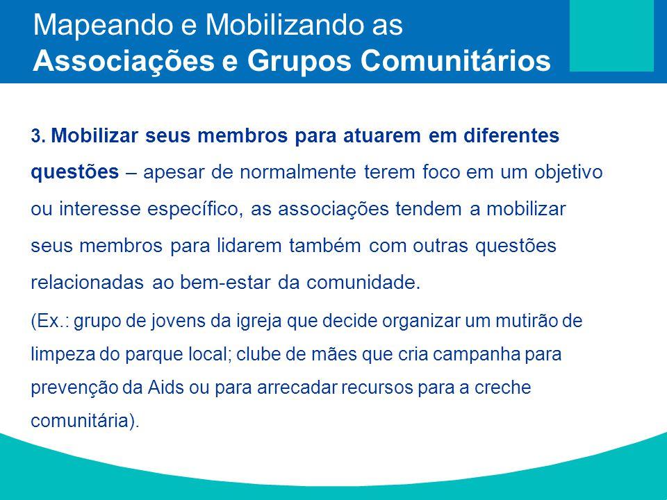 3. Mobilizar seus membros para atuarem em diferentes questões – apesar de normalmente terem foco em um objetivo ou interesse específico, as associaçõe