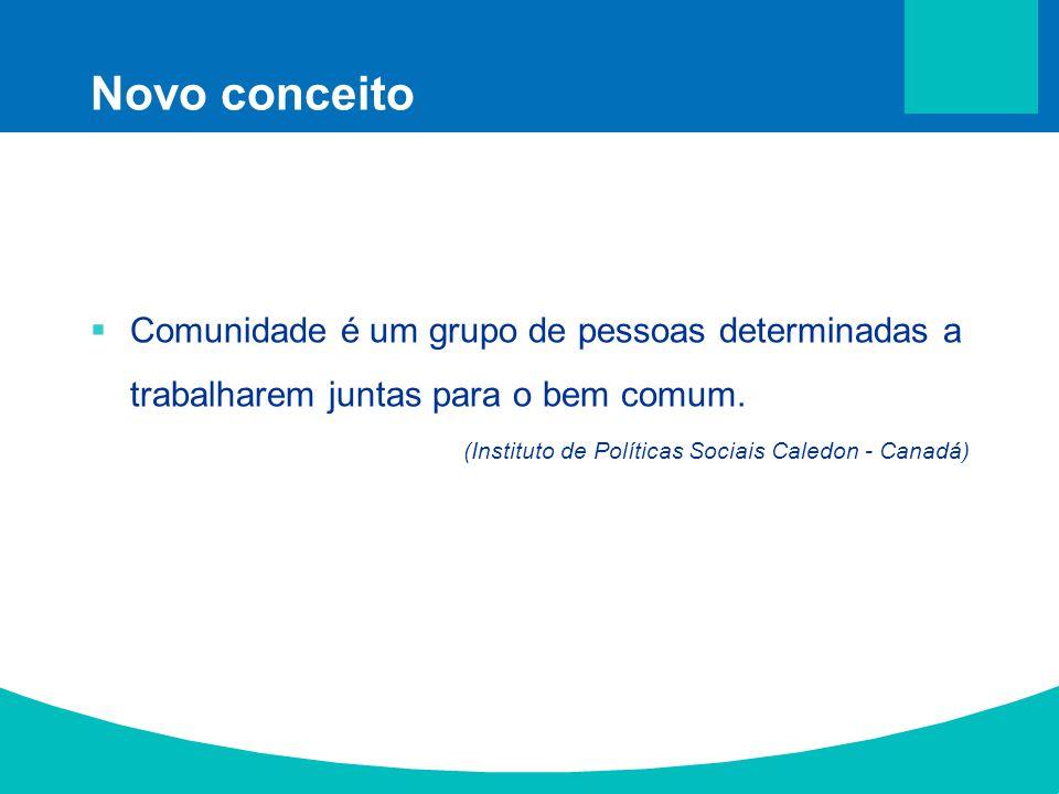 Novo conceito Comunidade é um grupo de pessoas determinadas a trabalharem juntas para o bem comum. (Instituto de Políticas Sociais Caledon - Canadá)