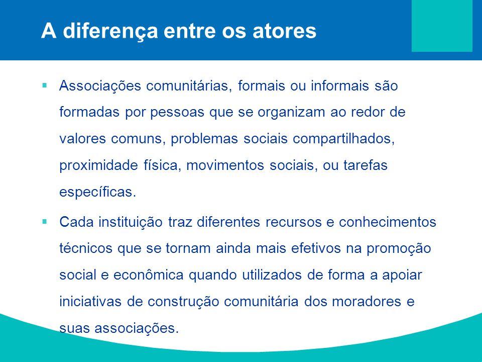Associações comunitárias, formais ou informais são formadas por pessoas que se organizam ao redor de valores comuns, problemas sociais compartilhados,