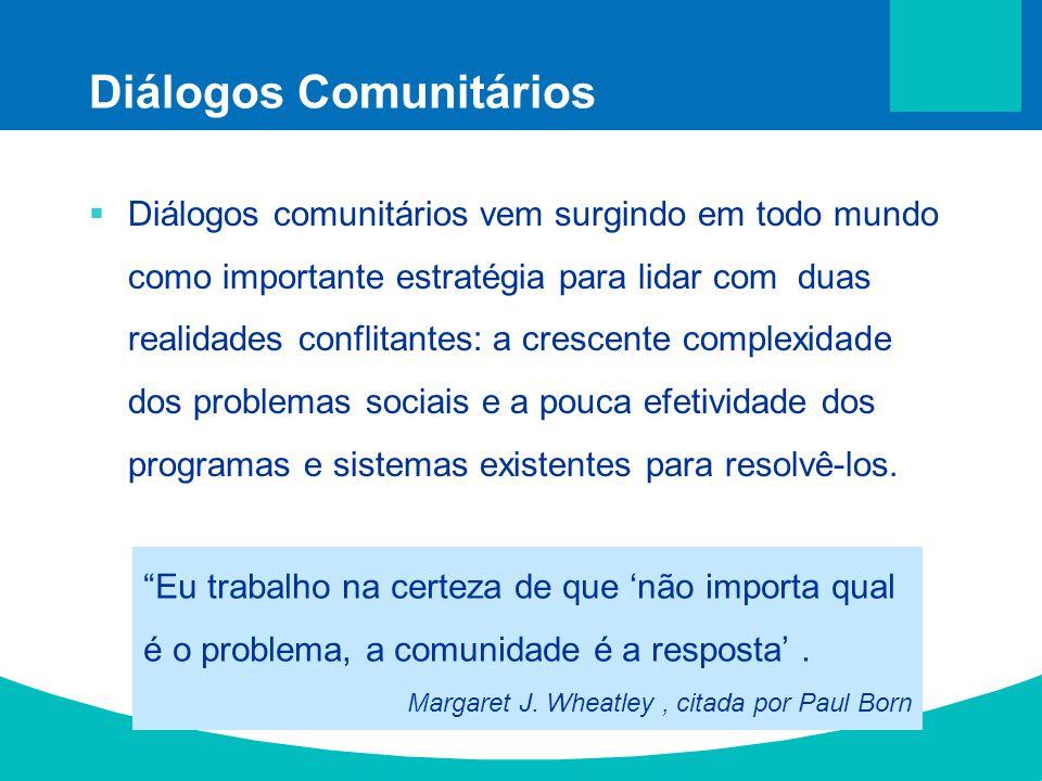 Diálogos Comunitários Diálogos comunitários vem surgindo em todo mundo como importante estratégia para lidar com duas realidades conflitantes: a cresc