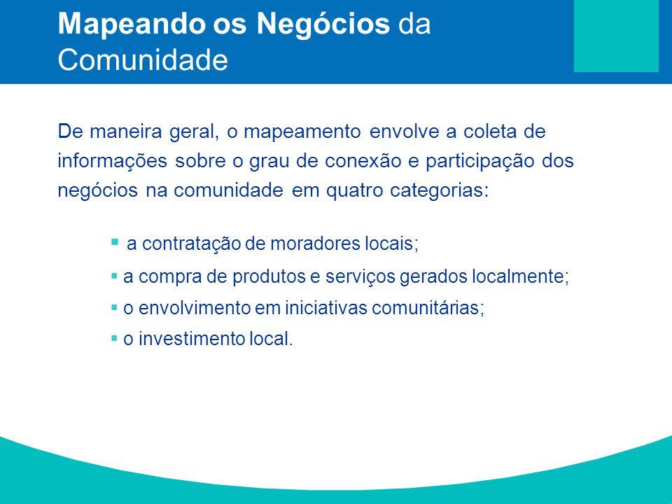 De maneira geral, o mapeamento envolve a coleta de informações sobre o grau de conexão e participação dos negócios na comunidade em quatro categorias: