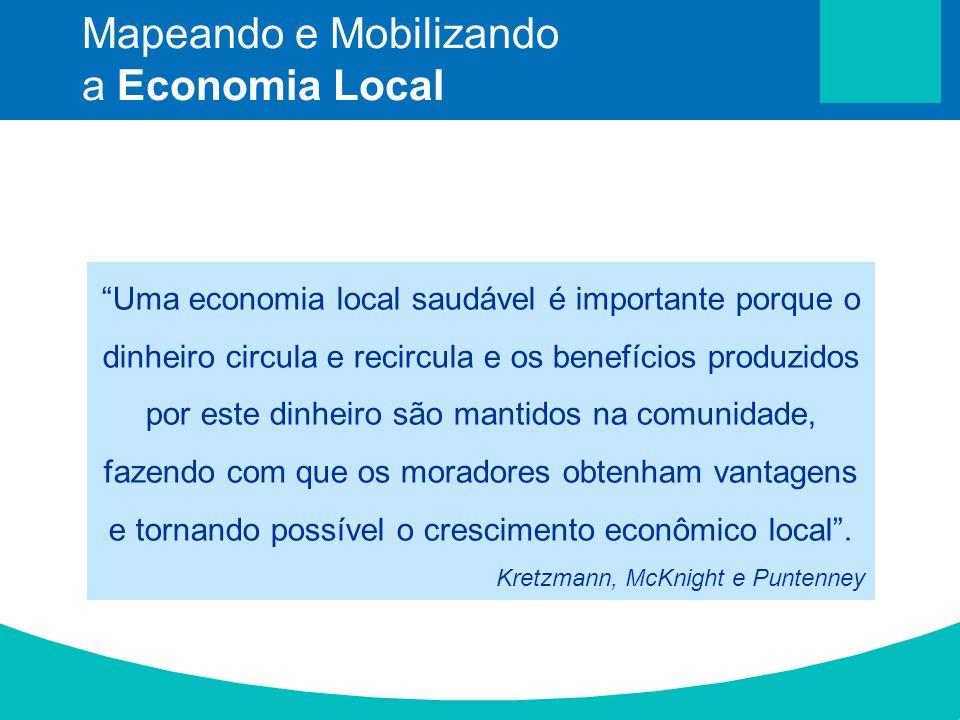 Uma economia local saudável é importante porque o dinheiro circula e recircula e os benefícios produzidos por este dinheiro são mantidos na comunidade
