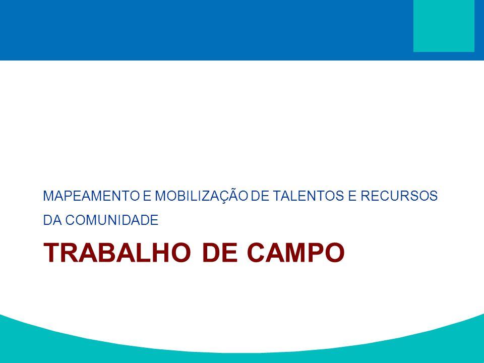 TRABALHO DE CAMPO MAPEAMENTO E MOBILIZAÇÃO DE TALENTOS E RECURSOS DA COMUNIDADE