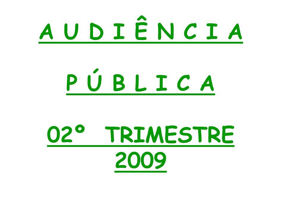 A U D I Ê N C I A P Ú B L I C A 02º TRIMESTRE 2009