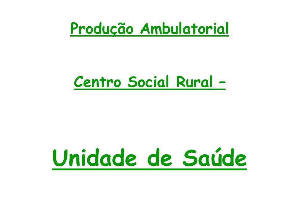 Produção Ambulatorial Centro Social Rural – Unidade de Saúde