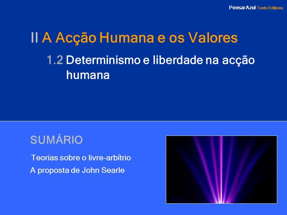 Pensar Azul Texto Editores SUMÁRIO Teorias sobre o livre-arbítrio A proposta de John Searle II A Acção Humana e os Valores 1.2 Determinismo e liberdad