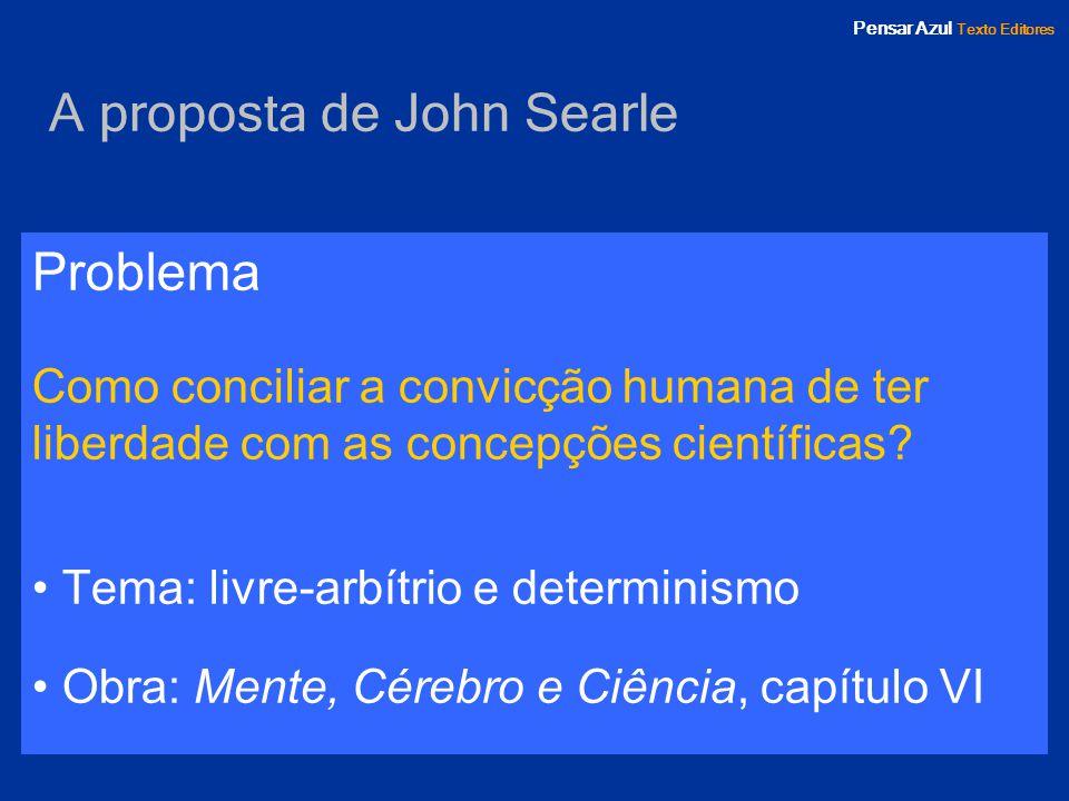 Pensar Azul Texto Editores A proposta de John Searle Problema Como conciliar a convicção humana de ter liberdade com as concepções científicas? Tema: