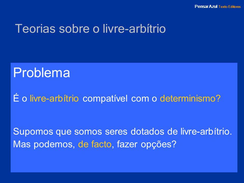 Pensar Azul Texto Editores Teorias acerca do problema do livre-arbítrio Determinismo radical (incompatibilismo) Indeterminismo Determinismo moderado (compatibilismo) Libertarismo
