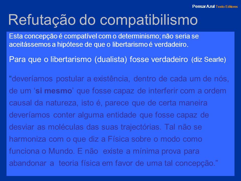 Pensar Azul Texto Editores Refutação do compatibilismo Esta concepção é compatível com o determinismo; não seria se aceitássemos a hipótese de que o l