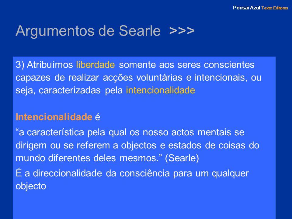 Pensar Azul Texto Editores Argumentos de Searle >>> 3) Atribuímos liberdade somente aos seres conscientes capazes de realizar acções voluntárias e int