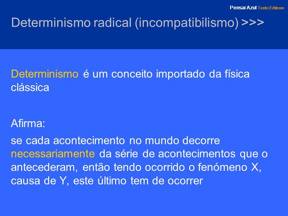 Pensar Azul Texto Editores Determinismo radical (incompatibilismo) >>> Determinismo é um conceito importado da física clássica Afirma: se cada acontec