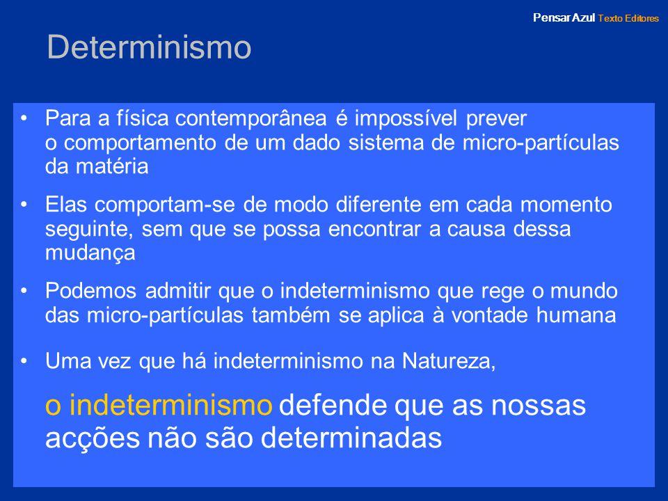Pensar Azul Texto Editores Organograma conceptual >>> Libertarismo as escolhas humanas não são determinadas nem aleatórias.