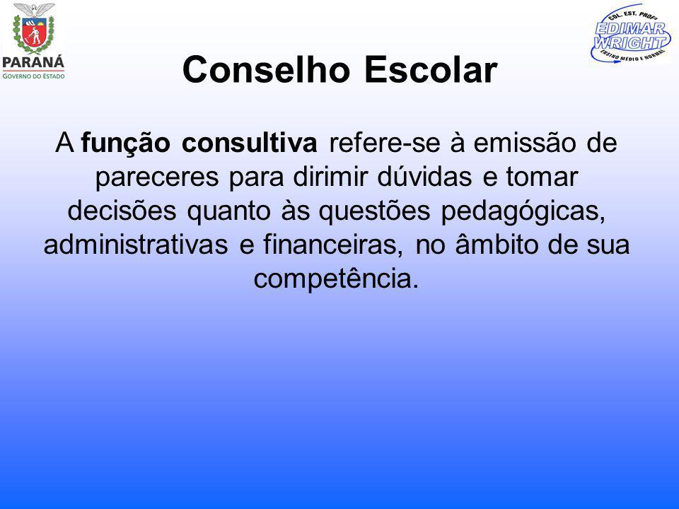 Conselho Escolar A função consultiva refere-se à emissão de pareceres para dirimir dúvidas e tomar decisões quanto às questões pedagógicas, administra