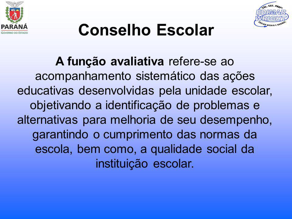 Conselho Escolar A função avaliativa refere-se ao acompanhamento sistemático das ações educativas desenvolvidas pela unidade escolar, objetivando a id