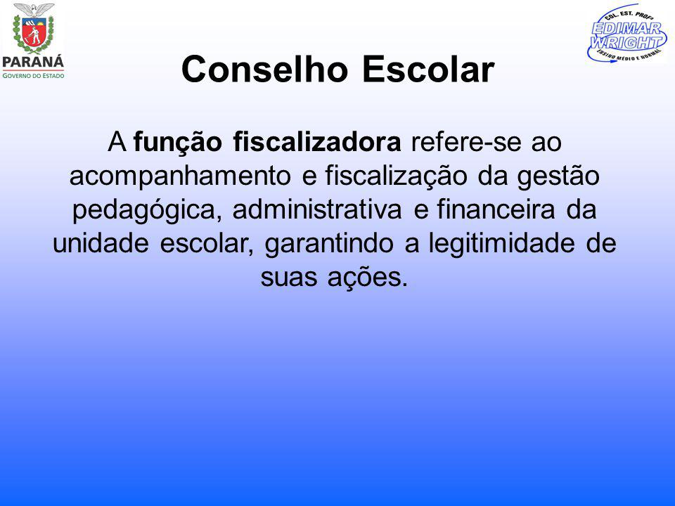 Conselho Escolar A função fiscalizadora refere-se ao acompanhamento e fiscalização da gestão pedagógica, administrativa e financeira da unidade escola