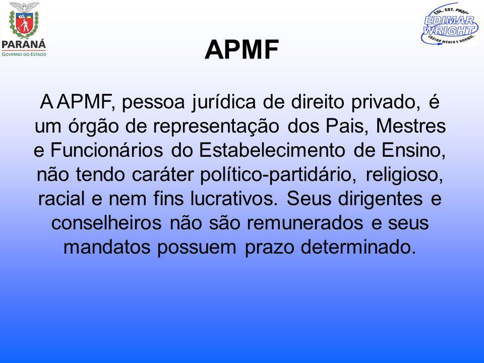 APMF A APMF, pessoa jurídica de direito privado, é um órgão de representação dos Pais, Mestres e Funcionários do Estabelecimento de Ensino, não tendo