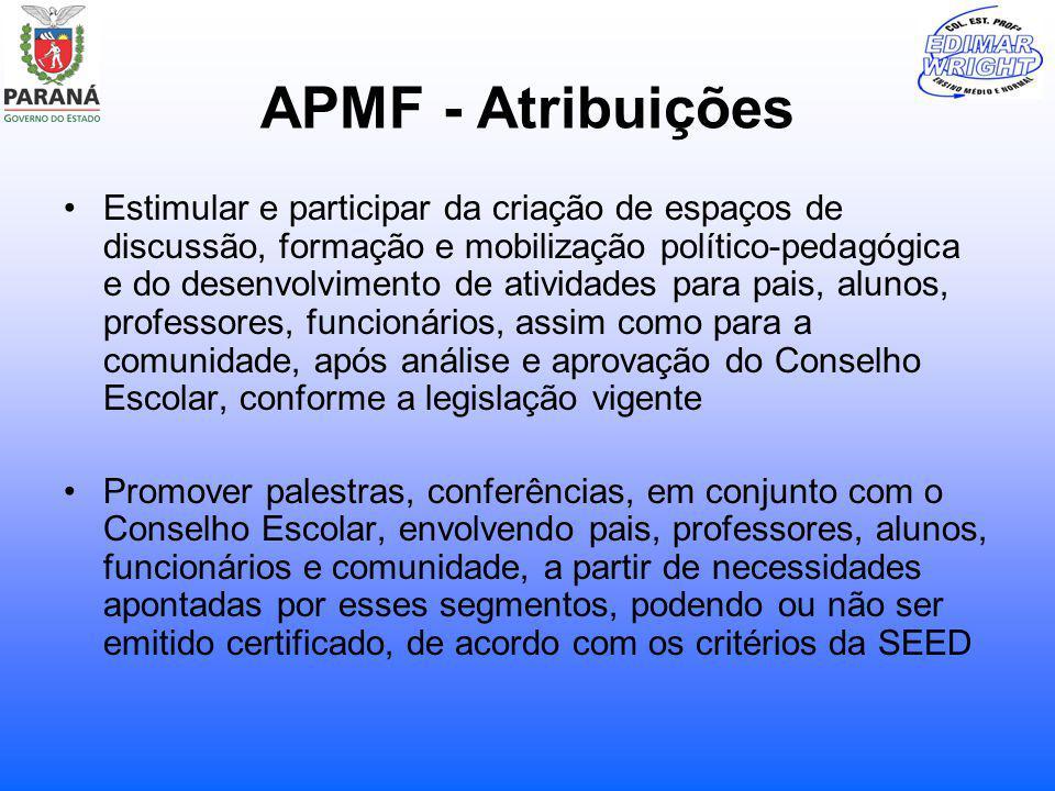 APMF - Atribuições Estimular e participar da criação de espaços de discussão, formação e mobilização político-pedagógica e do desenvolvimento de ativi