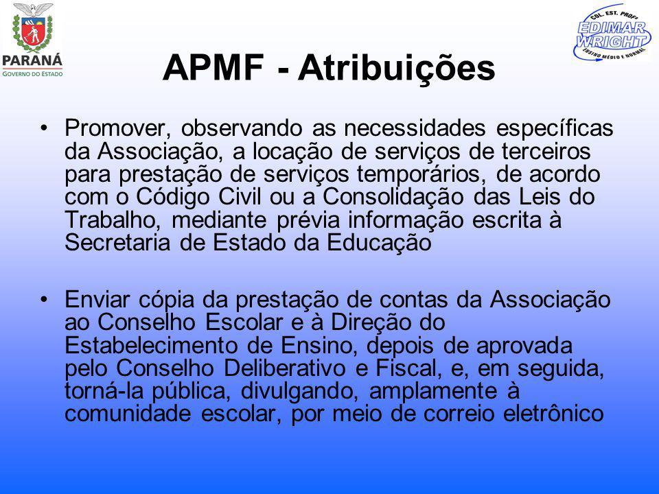 APMF - Atribuições Promover, observando as necessidades específicas da Associação, a locação de serviços de terceiros para prestação de serviços tempo