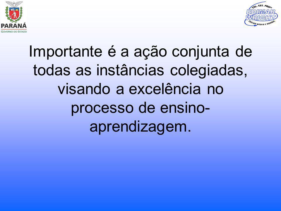 Importante é a ação conjunta de todas as instâncias colegiadas, visando a excelência no processo de ensino- aprendizagem.