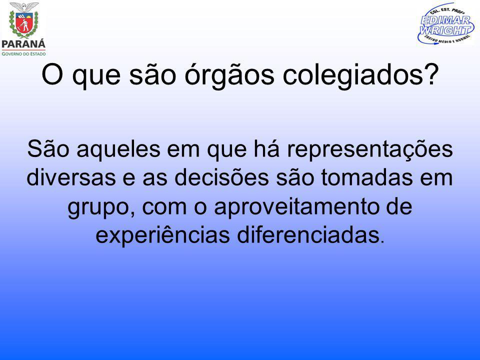 O que são órgãos colegiados? São aqueles em que há representações diversas e as decisões são tomadas em grupo, com o aproveitamento de experiências di