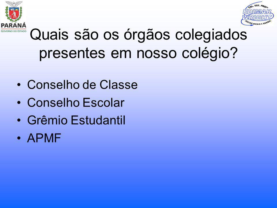 Quais são os órgãos colegiados presentes em nosso colégio? Conselho de Classe Conselho Escolar Grêmio Estudantil APMF