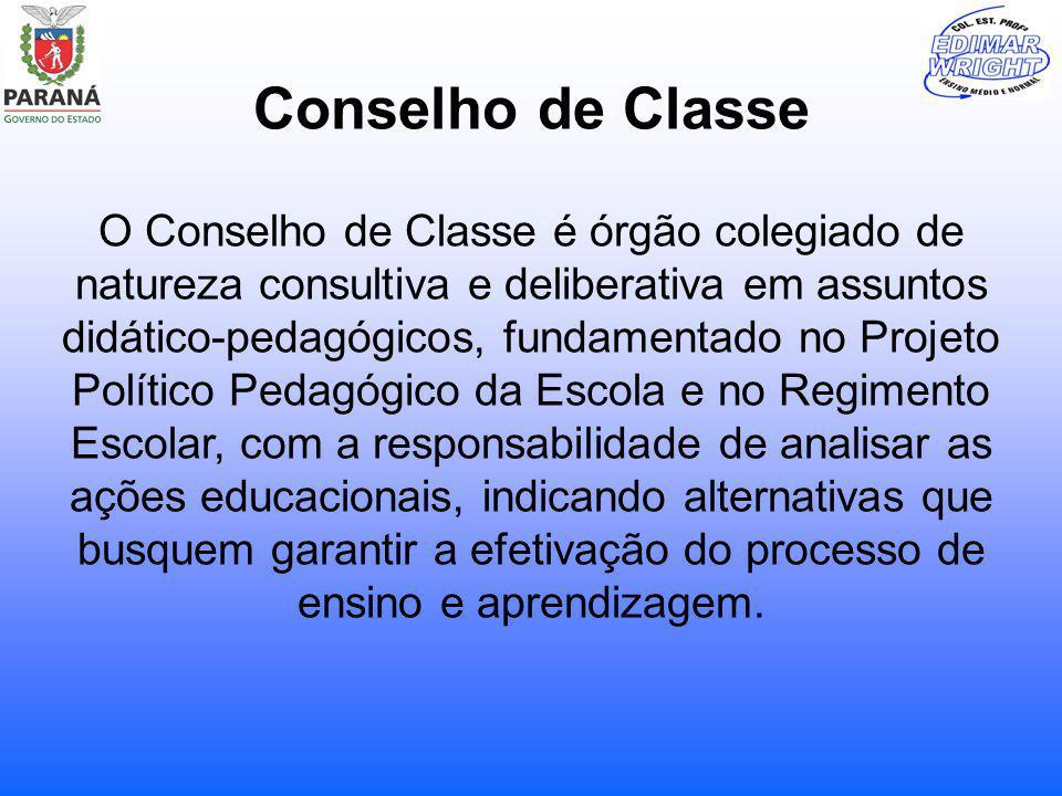 Conselho de Classe O Conselho de Classe é órgão colegiado de natureza consultiva e deliberativa em assuntos didático-pedagógicos, fundamentado no Proj