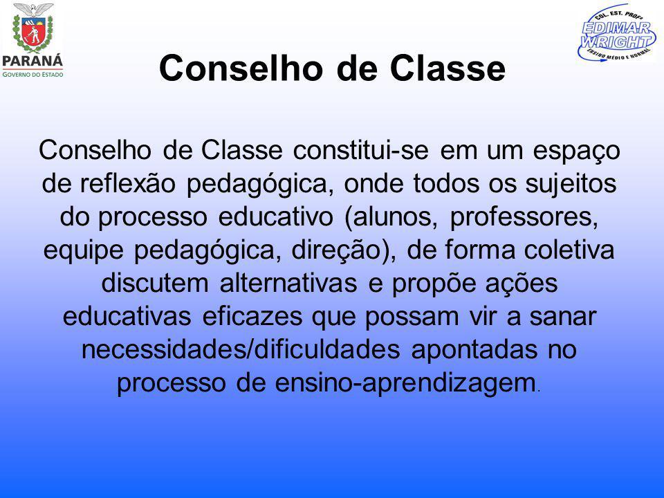 Conselho de Classe Conselho de Classe constitui-se em um espaço de reflexão pedagógica, onde todos os sujeitos do processo educativo (alunos, professo