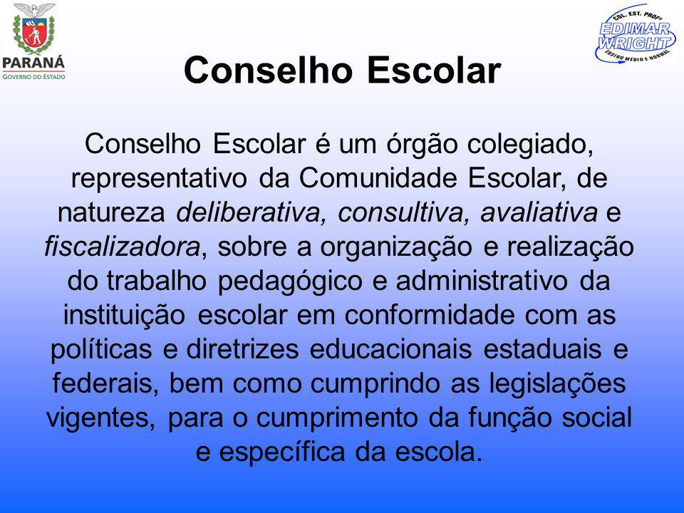 Conselho Escolar Conselho Escolar é um órgão colegiado, representativo da Comunidade Escolar, de natureza deliberativa, consultiva, avaliativa e fisca