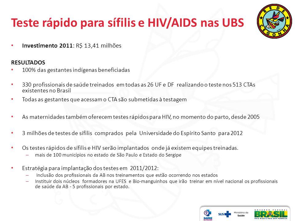 Teste rápido para sífilis e HIV/AIDS nas UBS Investimento 2011: R$ 13,41 milhões RESULTADOS 100% das gestantes indígenas beneficiadas 330 profissionai