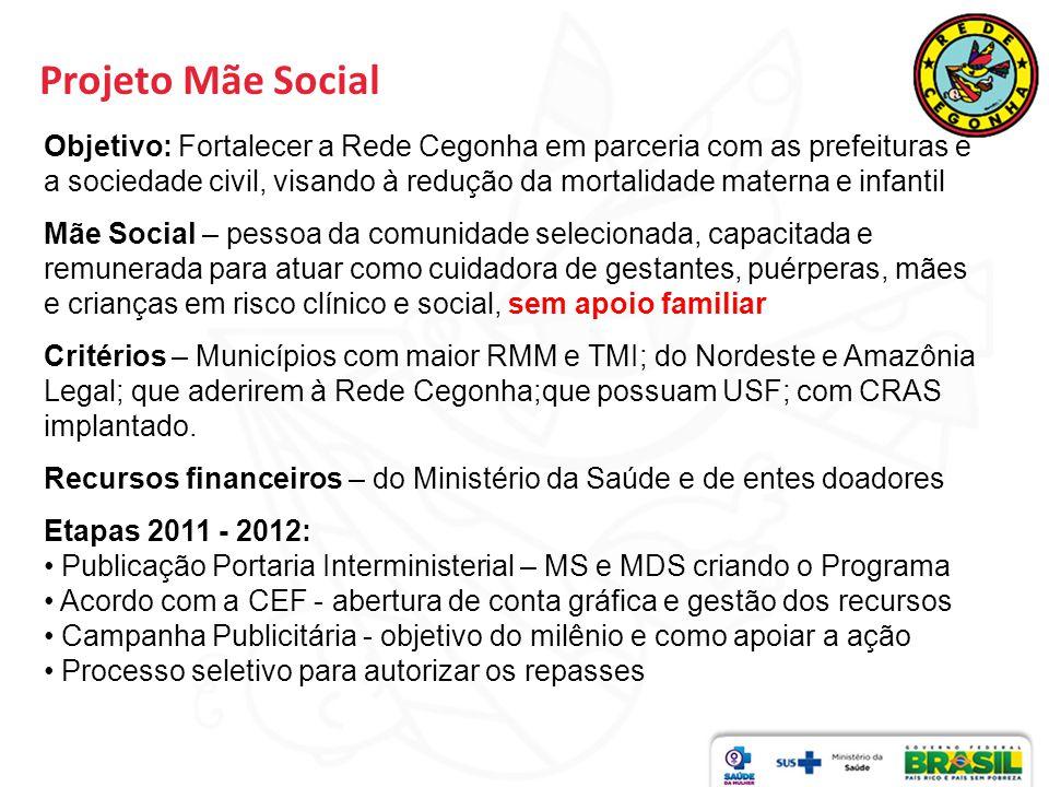 Projeto Mãe Social Objetivo: Fortalecer a Rede Cegonha em parceria com as prefeituras e a sociedade civil, visando à redução da mortalidade materna e