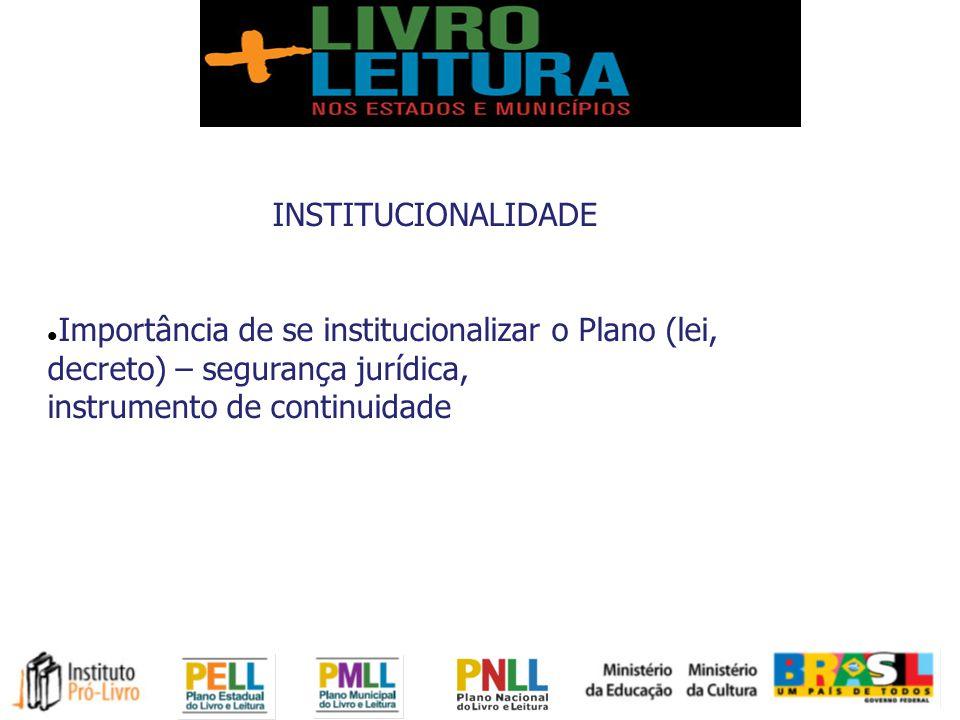 INSTITUCIONALIDADE Importância de se institucionalizar o Plano (lei, decreto) – segurança jurídica, instrumento de continuidade