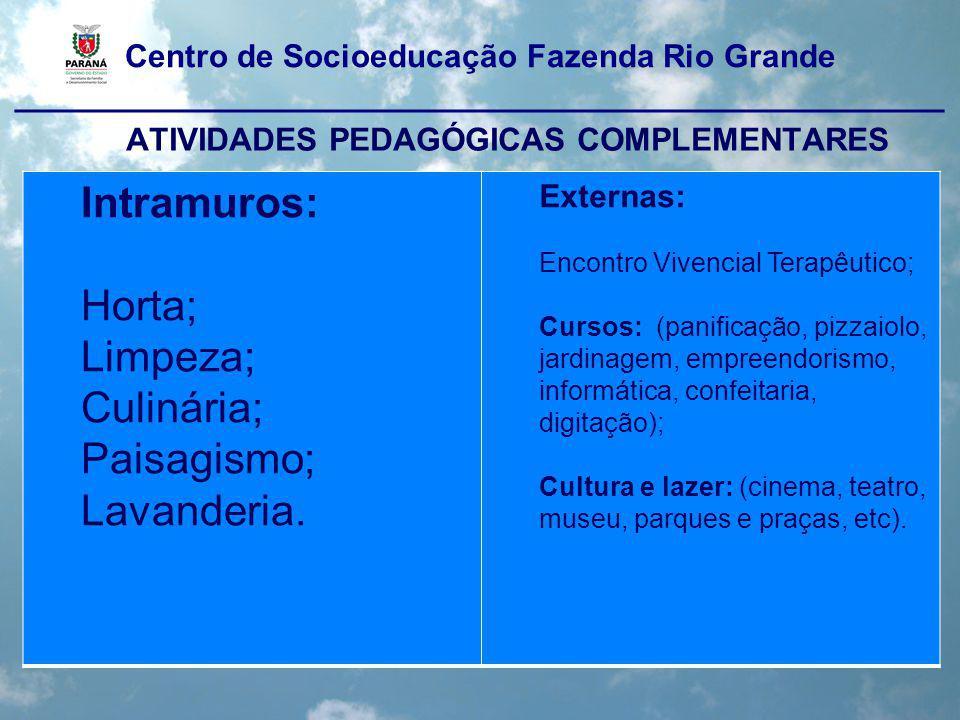 Centro de Socioeducação Fazenda Rio Grande ____________________________________________________ ATIVIDADES PEDAGÓGICAS COMPLEMENTARES Intramuros: Hort