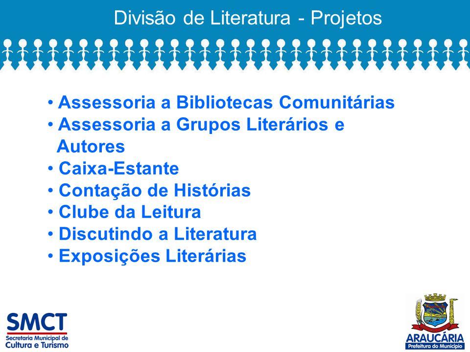 Divisão de Literatura - Projetos Assessoria a Bibliotecas Comunitárias Assessoria a Grupos Literários e Autores Caixa-Estante Contação de Histórias Clube da Leitura Discutindo a Literatura Exposições Literárias