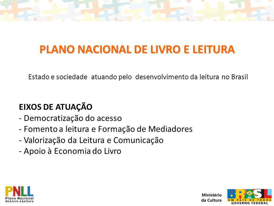 Estado e sociedade atuando pelo desenvolvimento da leitura no Brasil EIXOS DE ATUAÇÃO - Democratização do acesso - Fomento a leitura e Formação de Med